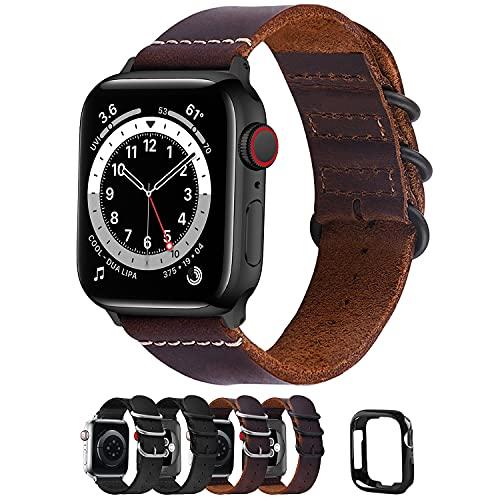 Fullmosa Correa de Apple Watch, Pulsera 38 mm 40 mm 42 mm 44 mm, Correa de Cuero NATO para iWatch SE, Series 6/5/4/3/2/1, Marrón 42mm/44mm