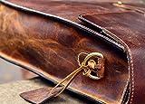 KALATING Personalisierte handgemachte echte Spitzenkorn Leder Herren Aktentasche Laptop Business - Tasche/bis zu 15 Zoll Laptop/Braun - 9