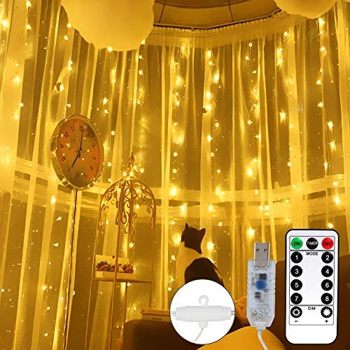 LED Lichtervorhang 3m x 3m, 300 LEDs USB Lichterkettenvorhang, Lichterkette 8 Modi mit Fernbedienung Timer für Innenausstattung, Außenbereich, Schlafzimmer Weihnachten