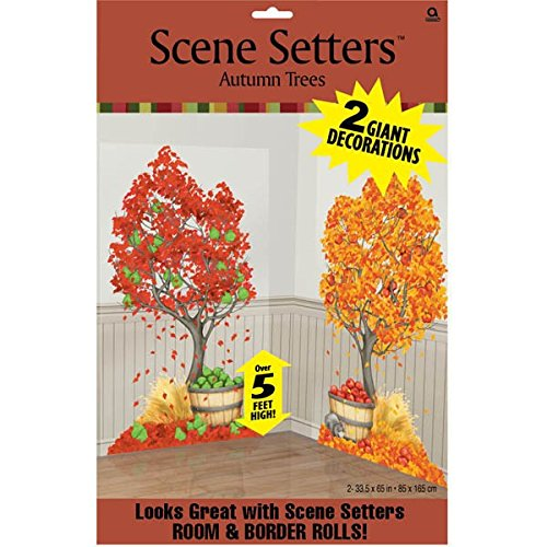 """Colors of Fall Thanksgiving Party Autumn Trees Scene Setters Add‑Ons Decoration, Plastic, 65"""" x 33"""" Pack of 2"""
