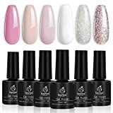 Beetles French White Gel Nail Polish Kit - 6 Pack Nude Pink Glitter Gel Polish Set Soak Off LED Lamp Nail Gel Manicure Kit Cured Gel Base Top Coat Needed DIY Home Salon Nail Art
