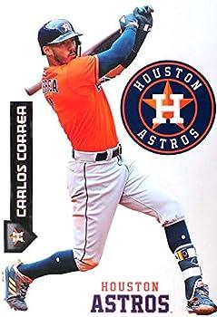 Carlos Correa FATHEAD + Houston Astros Logo Set Official MLB Vinyl Wall Graphics 17  INCH