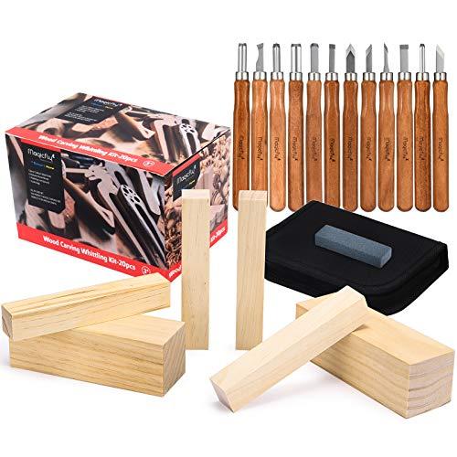 Magicfly Set de Herramientas para Tallar Madera, herramientas de tallado en madera para Escultura, Herramientas de Talla en Madera, 12 Formones, 6 Trozos de Madera, Bolsa de Almacenamiento