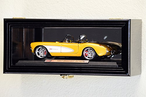 Single 1/18 Scale Diecast Model Car Display Case Cabinet Holder Rack w/98% UV- Lockable with Mirror Back (Black Finish)