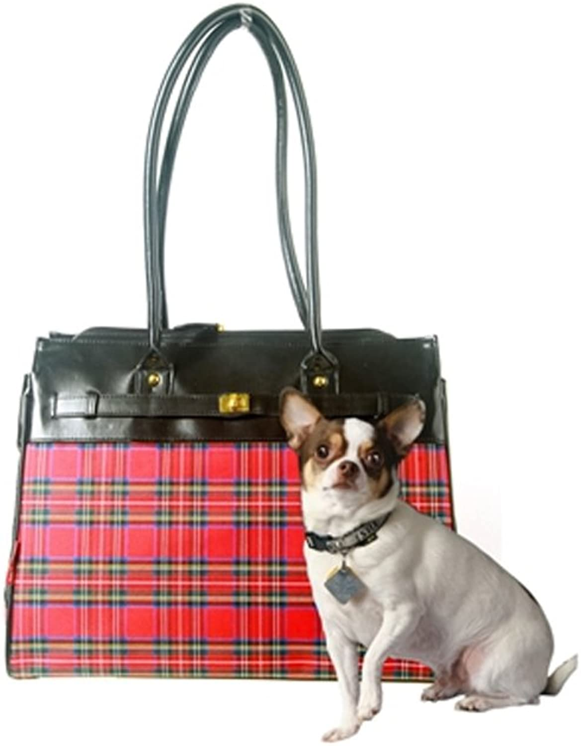BarknBag 16  x 12.5  x 8  Tartan Collection Monaco Tote Pet Carrier, Small