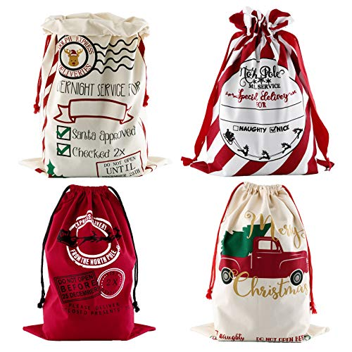 4 Pack Large Santa Sack, Yoption Christmas Canvas Bags with Drawstrings for Gift Wrapping 19'x27'