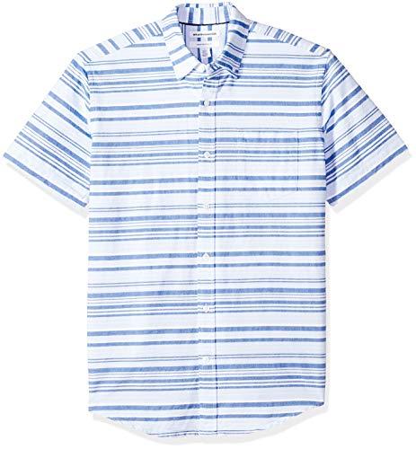 Amazon Essentials Men's Regular-Fit Short-Sleeve Pocket Oxford Shirt, Blue Horizontal Stripe, Medium