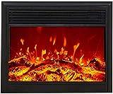 KAUTO Chimenea eléctrica empotrada - Estufa de Pared empotrada con W Logs 3D Flames Ornamental - Enchufe de inserción y Sensor más Seguro - Salida de Aire Superior Negra 1500 W 74 18 60 cm