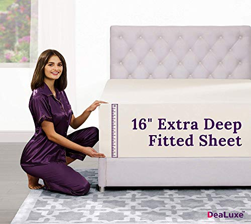 "Twin XL Fitted Sheet – [2 Pack – 16""-Inch] Extra Deep Pocket Twin XL Fitted Sheet – Perfectly–FIT Fitted Sheet for 14""–18"" Deep Mattress – Best Fit Bottom Extra Long Fitted Sheet – Ivory (Off White)"