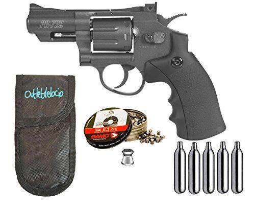 Outletdelocio. Revolver Perdigón Gamo PR-725 + Funda portabombonas + balines + bombonas co2. 29318 23054 38203
