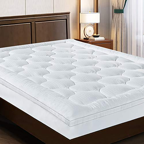 """EASELAND Extra Thick Queen Size Mattress Pad Pillow Top Mattress Cover Quilted Fitted Mattress Protector Cotton Top 8-21"""" Deep Pocket Mattress Topper (60x80 Inches)"""