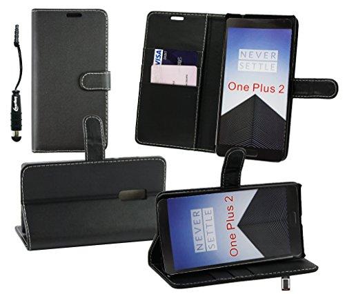 emartbuy® Eingabestift Pack for OnePlus 2 / OnePlus Two Schwarz Metallic Mini Eingabestift + Brieftaschen Wallet Etui Hülle Case Cover aus PU Leder Schwarz mit Kreditkartenfächern + LCD Displayschutz