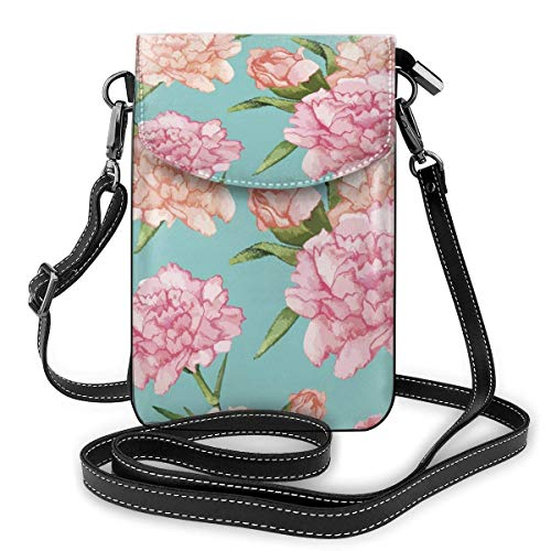 XCNGG Telefontasche Pink Flowers Cell Phone Purse Crossbody Bag Pouch Shoulder Bags Wallet For Women Girls Travel Wedding