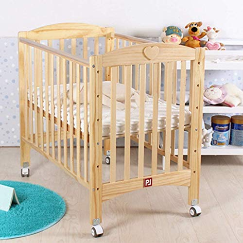 New HIZLJJ 4-in-1 Convertible Crib and Changer Fixed Side Crib with Pulley Crib Baby Bed,Solid Pine ...