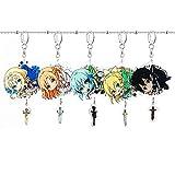 Japanese Anime Sword Art Online Schlüsselanhänger Asuna Shino Kirito Kreativer Acrylanhänger, 5 Stück