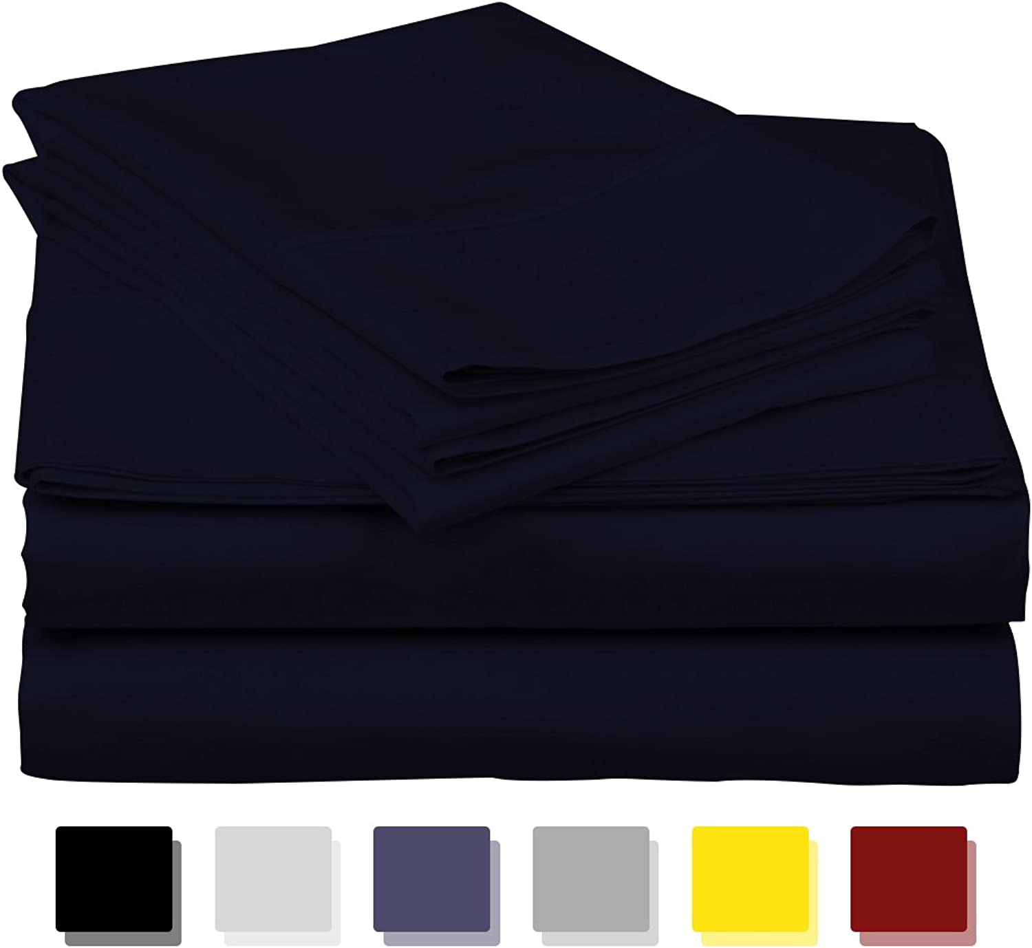 600-Thread-Count Best 100% Egyptian Cotton Sheets & Pillowcases Set - 4 Pc Navy bluee Long-Staple Cotton Bedding Queen Sheet for Bed, Fits Mattress Upto 18'' Deep Pocket, Soft & Silky Sateen Weave