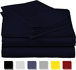 600-Thread-Count Best 100% Egyptian Cotton Sheets & Pillowcases Set - 4 Pc Navy Long-Staple Cotton Bedding California King Sheet for Bed,Fits Mattress Upto 18'' Deep Pocket, Soft & Silky Sateen Weave