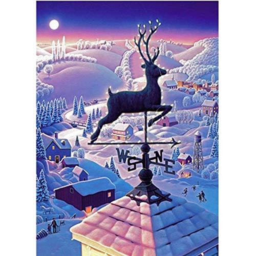 5D Diamantmålning full borrby i snön diamant gör-det-själv-kit strass broderi korsstygnskit leveranskonst hantverk kanvas väggdekor klistermärken heminredning 30 x 70 cm