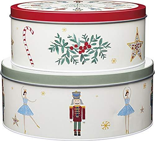 Kitchen Craft, Mehrfarbig, The Nussknacker-Kollektion Aufbewahrungsdosen für Weihnachtskuchen, Edelstahl, 2er-Set