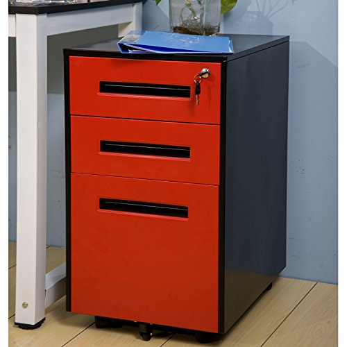 Merax Metal Solid Mobile Storage 3 Drawer File Cabinet with Keys, Fully Assembled Except Casters (Black and Burgundy)