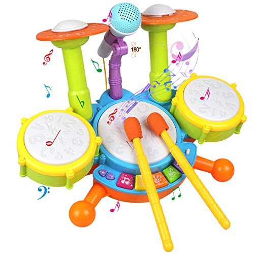 POKONBOY Kids Drum Set Toddler Toys with Adjustable Microphone, Musical Instruments Playset Fit for 2-12 Year Olds Boys and Girls