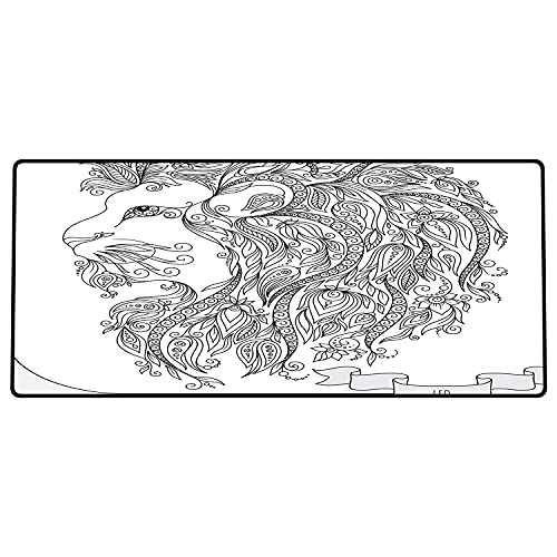 Alfombrilla de ratón para Juegos 800x400x3mm,Zodíaco, Rostro de Leo del zodíaco con Flores en el Pelo Tema del horóscopo del Rey del Bosque, M Base de Goma Antideslizante, Adecuada para Jugadores