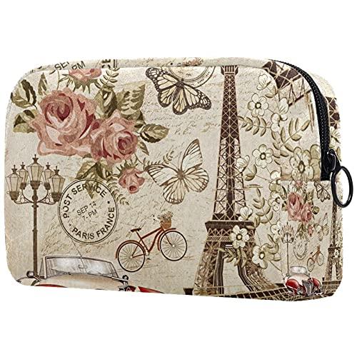 Bolsa de Maquillaje compacta Bolsas de cosméticos de Viaje portátiles para Mujeres niñas Neceser,Postal Vintage de París