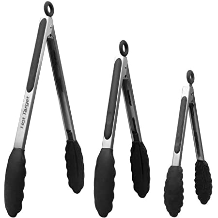 Hot Target Set of 3-7, 9, 12 inches, Black Color, Heavy Duty, Non-Stick, Stainless Steel Silicone BBQ and Kitchen Tongs. Heat resistant up to 600°F (3 COLORS AVAILABLE)