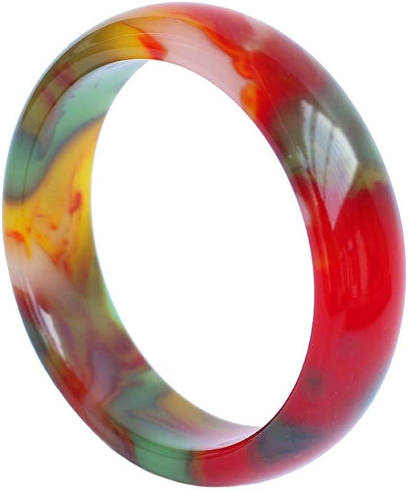 HSUMING Jade Bangle Bracelet for Women, Charm Chinese Style Colorful Agate Bangle,(56-62)