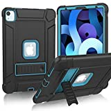 MENZO New iPad Air 4th Gen 10.9 inch case 2020, Slim Shockproof Rugged High Impact Protective Case with Kickstand for New iPad Air 4 / Pro 11-inch 2020 (2nd Generation)/2018 (1st Gen), Black and Blue