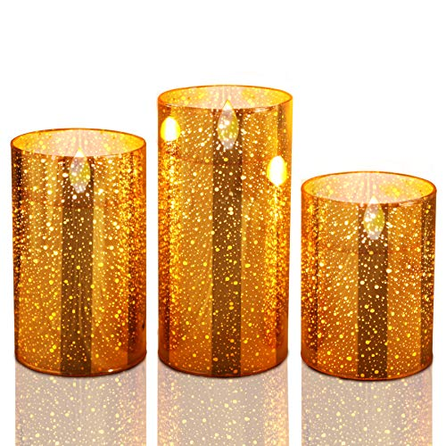 Flameless Candles Flickering Flameless Christmas Candles, Golden LED Flameless Candles Battery Operated Pillar Candle Moving Effect with Remote Timer for Christmas Decoration,4 5 6 inch Pack of 3