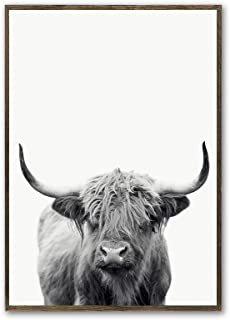 Scottish Highland Cow Art Print Poster Canvas Print Wall Art, Unframed, for Wall Decor Home Decor (cow4, 12x18 inch)