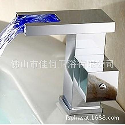 Yannini European-Wide Copper Wasserhahn LED Licht-emittieren Wasserfall Becken Waschbecken Toilette Toilette Toilette Wasserhahn warm und kalt B071HGRDNW | Abrechnungspreis  85903a