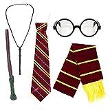 Kids School Boy Wizard Fancy Dress Costume Accessories (Glasses, Elastic Tie, Scarf & Wand) by Robelli