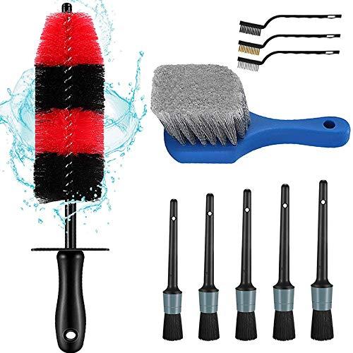 Katigan Kit de Limpieza de Coche, Herramienta de Limpieza de NeumáTicos, Cepillo de Limpieza Suave, Adecuado para Limpiar Esquinas PequeeAs y Espacio de Ruedas