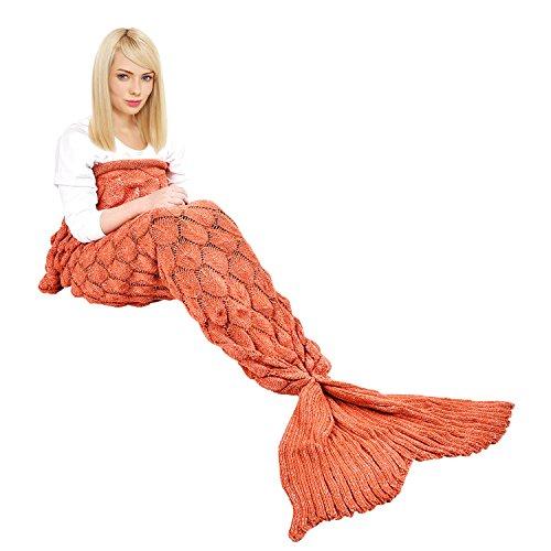 Ecrazybaby888 Coperta a Coda di Sirena Fatta a Mano, Fantasia a Squame di Pesce, 195 x 90 cm