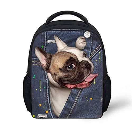 N-B Funny 3D Fake Denim Pocket Pug Dog Print Baby School Bags Lovely Kindergarten Students Schoolbags Children Backpacks