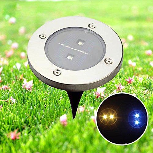 Bazaar Garden Lampe de jardin étanche à énergie solaire 2 LED Blanc chaud Jaune