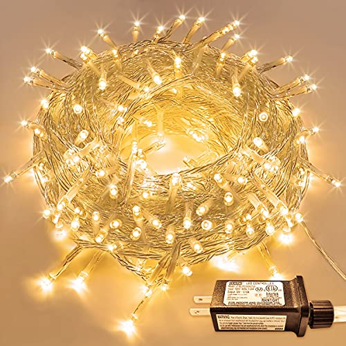JMEXSUSS 66ft 200 LED String Lights Indoor Outdoor, Warm White Christmas Lights Clear Wire, 8 Modes Waterproof Twinkle Fairy String Lights Plug in for Tree Room Bedroom Wedding Party Decorations