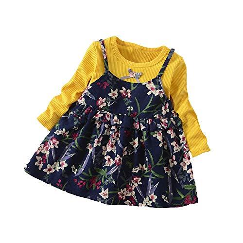 Bébé Filles Robe Manches Longues Pull Volants Bowknot Jupe Fleurs Imprimé Princesse Tenue Casual pour Enfant 1-3 Ans Sunenjoy