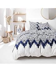 J&K Markets påslakan milo, vit/blå, kollektion Cyclades, 220 x 240 cm, 2 personer, 100 % bomull begränsad utgåva