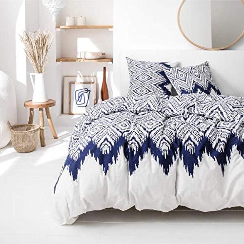 J&K Markets Milos påslakan vit/blå, serie Cyclads, 220 x 240 cm, för dubbelsäng, 100 % bomull, begränsad upplaga