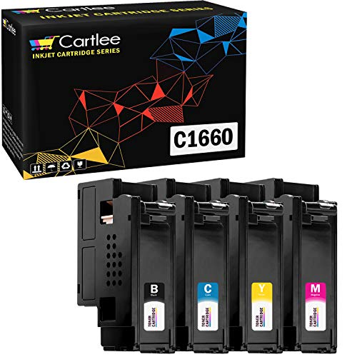 Cartlee Set of 4 Compatible High Yield Laser Toner Cartridges Replacement for Dell C1660, C1660W, C1660cnw, 1660, 1660w, 1660cnw 4G9HP Printers (1 Black, 1 Cyan, 1 Magenta, 1 Yellow)
