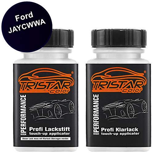 TRISTARcolor Autolack Lackstift Set für Ford JAYCWWA Pantherschwarz Perl/Negro Grafito Metallic Basislack Klarlack je 50ml