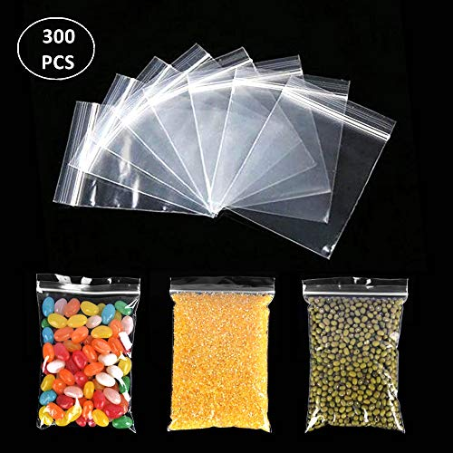 300pcs Zipper Poly Bags, Magicalmai Clear Durable Zip Lock Baggies Thicken Plastic Zip Bags for Small Sundries/Kitchen Storage/Jewelry Package/Office Stationery Classification (2x2inch)