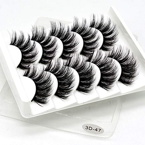 YZONGHENG 5 pairs of 3D mink natural fluffy soft eyelashes dramatic eyelash makeup eyelash extension silk eyelashes