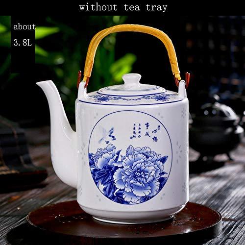 Cafetera de porcelana Tetera de porcelana azul y blanca de cerámica de gran capacidad Vintage Drinkware Coffee Milk Pot Home Water Flower Tea Kettle-M