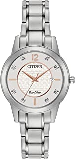 Citizen Women's Analog Eco-Drive Watch with Stainless Steel Strap FE1081-83B