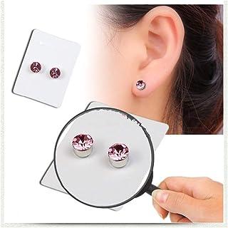 Dfsg ATUI Pendientes de botón Falsos Pendientes de Acero Inoxidable Pendientes de imán de Diamante sin