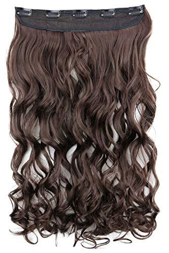 PRETTYSHOP 55cm Clip In Extensions Haarverlängerung Haarteil Voluminös Gewellt Brünett C70-1